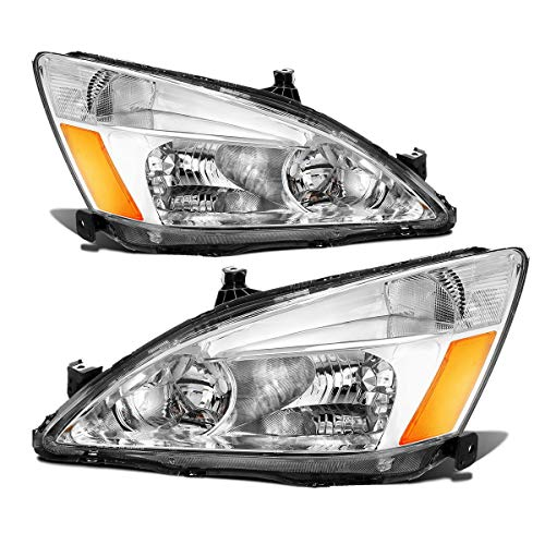 - Partsam Headlight Assembly Replacement for Honda Accord 03 04 05 06 07 EX/Hybrid/LX/Special Edition, Driver and Passenger Side Headlamps Chrome Housing Amber Reflector 33151-SDA-A01 33101-SDA-A01