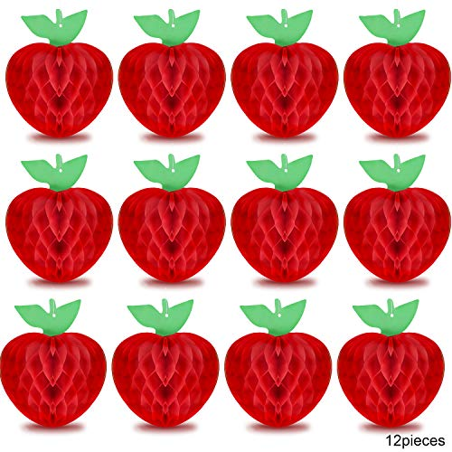 12 Pieces Honeycomb Tissue Paper Apple Decoration Apple Shaped Honeycombs Red Honeycomb Hanging Apple Accessory for Baby Shower Party, 10 -