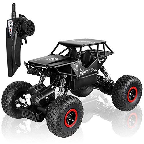 Blexy Remote Control Off-Road Car Rc Road Rock Vehicle Radio Remote Control Crawler Truck 2.4Ghz 4WD High Speed 1: 18 Radio Remote Control Racing Cars Electric Fast Race Buggy Hobby Car Black