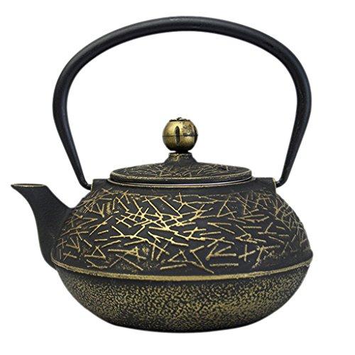 Homyl 1 Piece Japanese Cast Iron Tea Set Teapot Teacup Black Pine Needle Gold