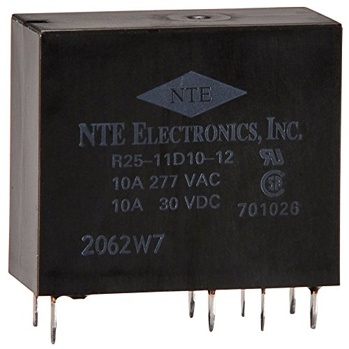 (NTE Electronics R25-11D10-12 Series R25 PC Board Mount Epoxy Sealed Relay, DPDT, 10 Amp, 12VDC)