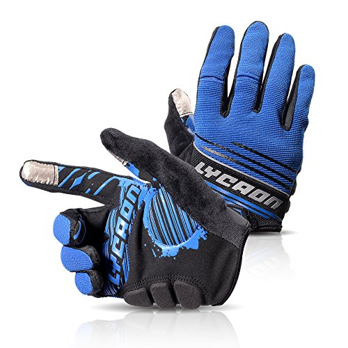 LYCAON Cycling Gloves, Silicone Gel Padded , EVA Cushion, Touch Screen, Skid Resistance, Riding Full Finger Mitten Glove for Mountain Road Bike MTB Cruiser Men Women (3 Size, 4 Colors)
