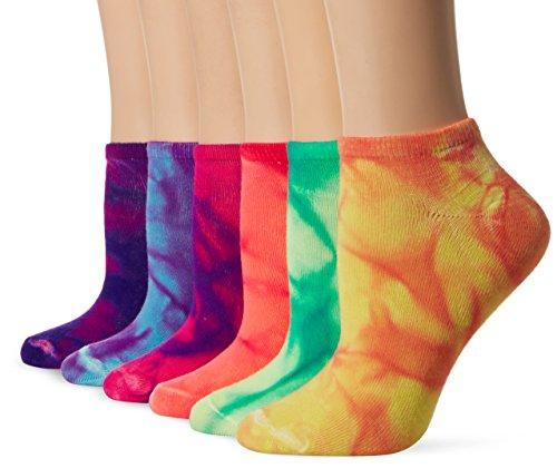 (La De Da Women's 6 Pack Fashion Flat Knit No Show Socks, tie dye, 9-11)