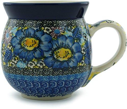 Polish Pottery Bubble Mug 16 oz Joyful Meadow UNIKAT (Beautiful Mugs Pottery)
