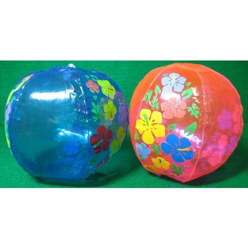 Inflatable Hibiscus Beach Balls, 12 pack by Fun Express