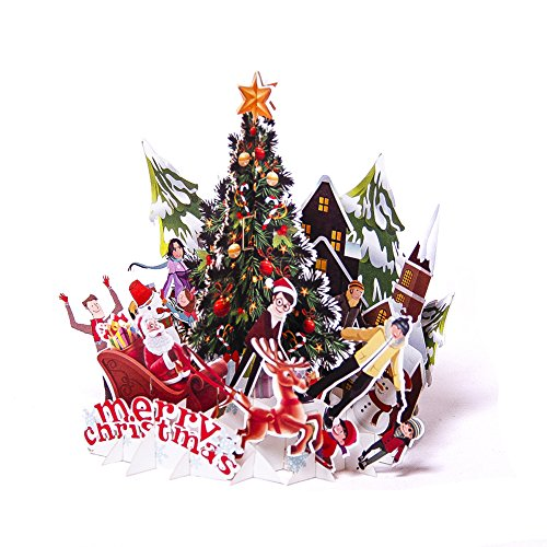 Paper Spiritz Pop Up Cards Christmas Happy New Year Card 3D Handmade Holiday Greeting Cards Laser Cut Gift Card With Envelope (Chritsmas Party) (Christmas 3d Card)