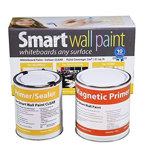 Pittura Lavagna & Magnetica 2m² - Vernice Calamitata & Scrivibile Trasparente Per Pennarelli Smarter Surfaces