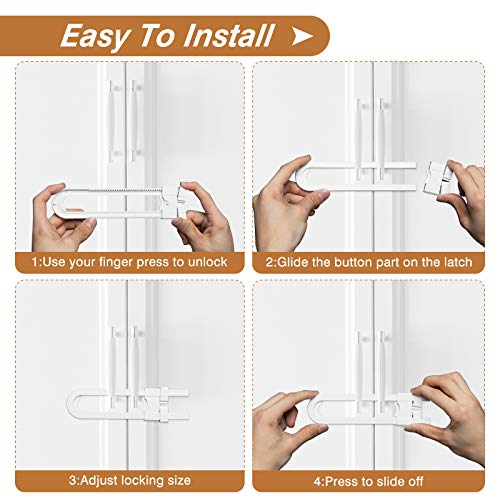 511jcy95njL Mum & Cub 4 Pack Sliding Cabinet Locks and 4 Pack Child Safety Strap Locks Combo Set, Baby Proof Locks for Doors, Drawer, Cupboard, Refrigerator, with 10 Outlet Plug Covers    【Well Made & Adjustable】The baby-proof sliding cabinet locks are made from durable ABS material to prevent a break. And with up to 5 inches of cover spaces, these U-shaped locks wrap around handles or knobs to hold doors shut【Sturdy & Durable Adjustable Strap】These baby strap locks can fit on any surface and adjust to any shape to match a variety of configurations. Installation is tool-free as they include built-in high durable and long-lasting 3M adhesive【High-quality Plug Covers】The childproof outlet plug covers crafted with high-quality materials with electrical insulation properties. Prevent your kids from inserting their fingers into the slots and keeps kids away from the electric hazards【Widely Application Baby proof Kits】This complete baby proofing kit works with closets, cabinets, doors, toilet seats, etc. Tool-free installation, you can easily remove it with a hairdryer without any damage to your furniture at all, leaving no stains or marks