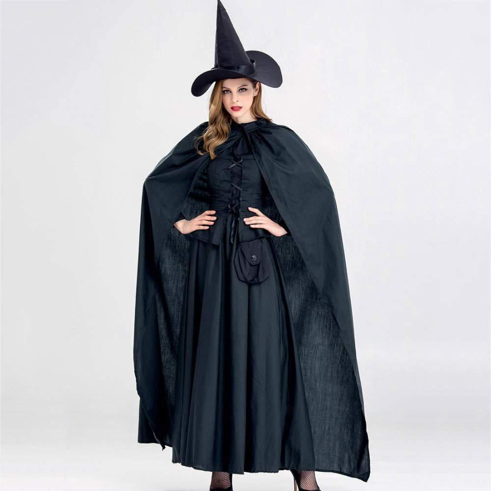 Yunfeng Hexenkostüm Damen Halloween-Hexe Kostüm cos Schwarze Horror Hexe Verjüngungskur Prom Mottoparty Kostüm