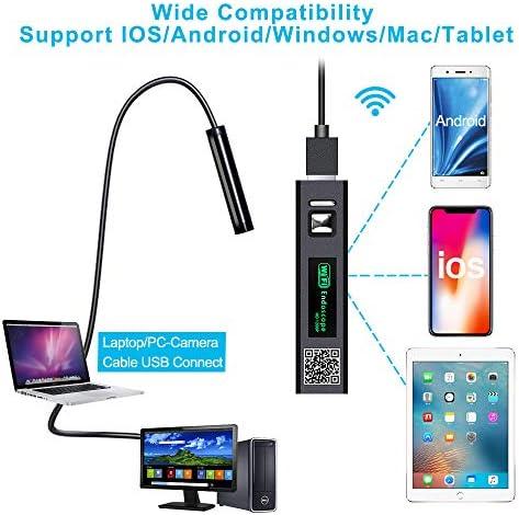 Ordinateur Portable Mac Tablette Endoscope WiFi 1200P HD Camera Endoscope IP68 Etanche Cam/éra dinspection Soutien pour iOS//Android Phone