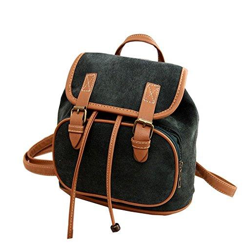 Rucksack Multifunktions Warm grün schwarz Frauen Umhängetasche Schulter Girl Leinwand Vintage Rucksäcke 4F1048