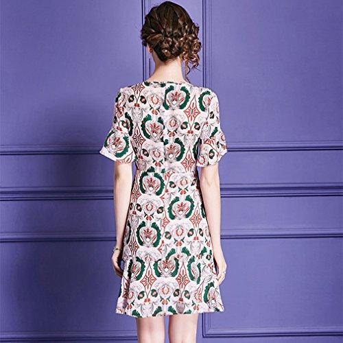 Cotylédons Women`s Robes De Soie V Cou À Manches Courtes Taille Haute Une Robe De Ligne