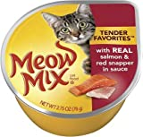 Meow Mix Tender Favorites Wet Cat Food with Real Salmon & Red Snapper In Sauce, 12-2.75 oz Cups (12 Pack)