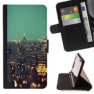 Momo Phone Case / Flip Funda de Cuero Case Cover - Luces de la ciudad de Nueva York Edificios de la noche - LG G4c Curve H522Y (G4 MINI), NOT FOR LG G4