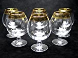 ''Cristalleria Italian Decor'' Crystal Cognac Snifter Goblet, 17 oz. Gold and Black Greek Key Ornament, Hand Made in Italy, SET OF 6 Glasses