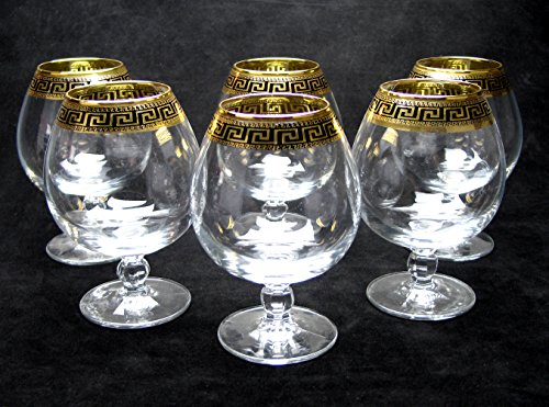''Cristalleria Italian Decor'' Crystal Cognac Snifter Goblet, 17 oz. Gold and Black Greek Key Ornament, Hand Made in Italy, SET OF 6 Glasses by Cristalleria Italian Decor