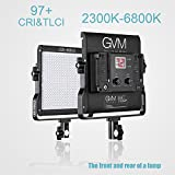GVM Dimmable Bi-color LED Video Panel Light 2300~6800K For Studio Interview CRI97+ Brightness of 10~100% Metal Housing Outdoor Video Photography Lighting Kit 29W 480LS