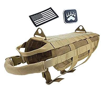 Petsidea Tactical Dog Molle Vest Harness Adventure Hunting Training Vest with Grab Handles Attached Glowing in Dark Patches