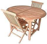 Zenvida 5 Piece Teak Extendable Dining Table With Folding Chairs Set