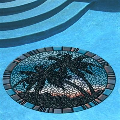 Blue Palm Trees Tile Border Pool Mat, 59 Inches, Vinyl, All Weather, Works in Any Pool