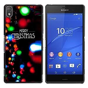 For Sony Xperia Z3 D6603 / D6633 / D6643 / D6653 / D6616 Case , Christmas Lights Black Winter Xmas - Diseño Patrón Teléfono Caso Cubierta Case Bumper Duro Protección Case Cover Funda