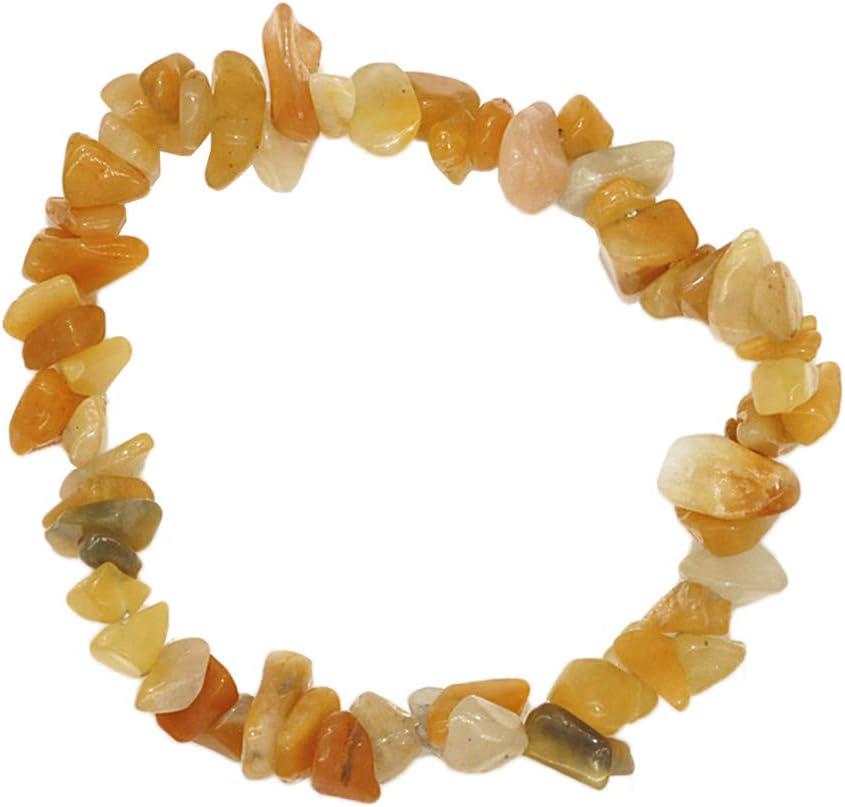 Piedra Natural Piedras Preciosas Pulsera De Eslabones Elásticos Cuentas De Cuarzo Piedra Natural Grava Gemstone Chips Pulsera Pulsera - Amarillo, Tal como se Describe