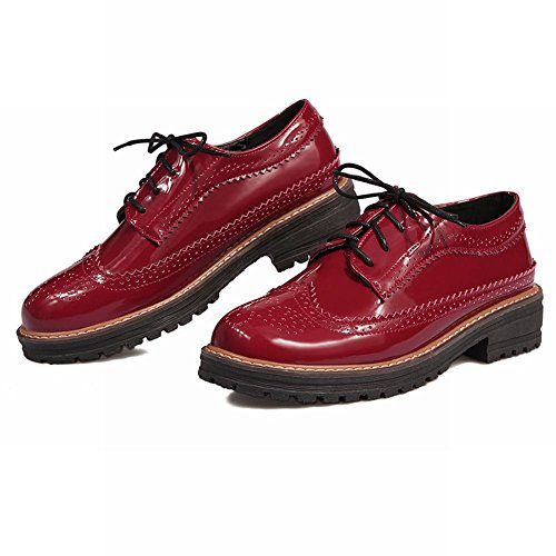 Wine Oxfords Fashion Leather red Lace Shoes Heel Low Womens Patent Up Carolbar wfT7ZRq