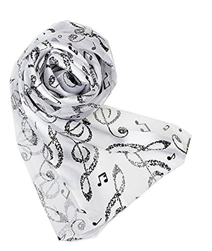 Knitting Factory Women's Fashion Music Note Scarf with Gift Box (Various Patterns, Colors) Made in Korea (White-ON2006)