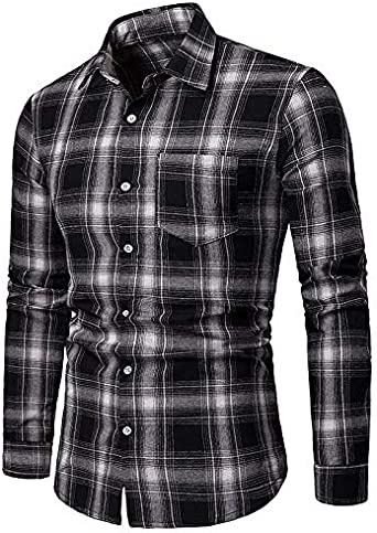 IYFBXl Mens Asian Size Slim Shirt Plaid Shirt Collar