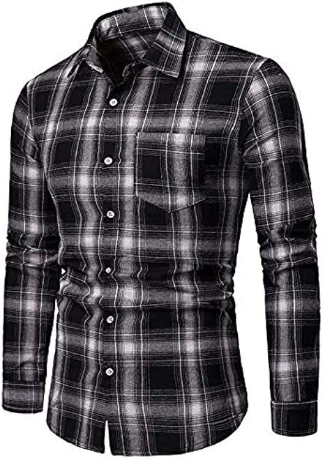IYFBXl Mens Basic Shirt Plaid