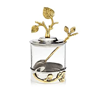 Godinger Silver Art Leaf Jam Jar With Spoon