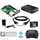 SMI Raspberry Pi 3 Powered KODI Home Media Center 8GB, HDMI, WiFi, Black ABS Case, 5V 2.5A Power, Mini Wireless Keyboard KIT