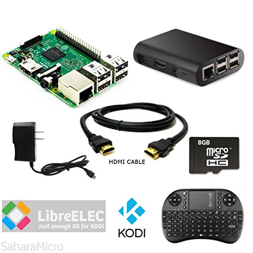 SMI Raspberry Pi 3 Powered KODI Home Media Center 8GB, HDMI, WiFi, Black ABS Case, 5V 2.5A Power, Mini Wireless Keyboard KIT by SaharaMicro