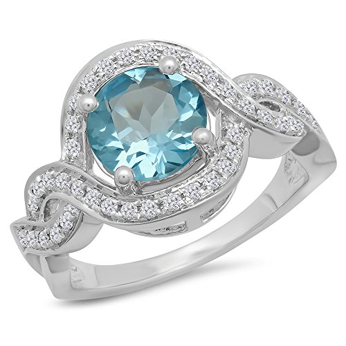 14K White Gold Round Blue Topaz & White Diamond Ladies Swirl Split Shank Engagement Ring (Size - Topaz Split Shank