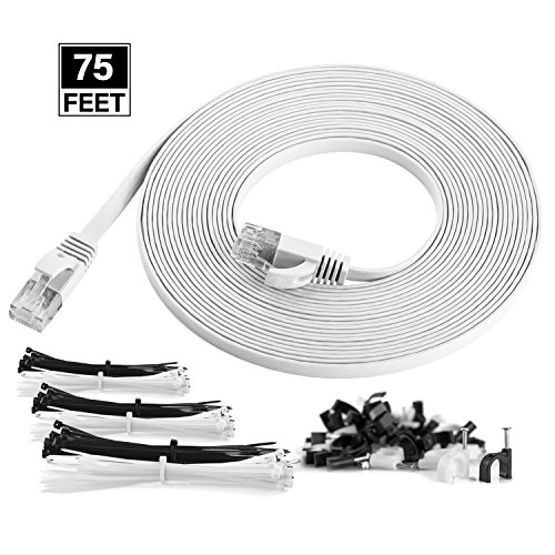 Maximm Cat6 Flat Flexible Ethernet Cable, 75 Ft. [1-Pack] White - Pure Copper - Includes Cable Clips and Ties