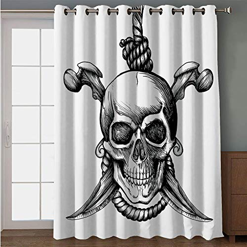 iPrint Blackout Patio Door Curtain,Pirate,Jolly Roger Skull with Two Knifes Bones and Hanging Rope Gothic Criminal Halloween Decorative,Black White,for Sliding & Patio Doors, 102