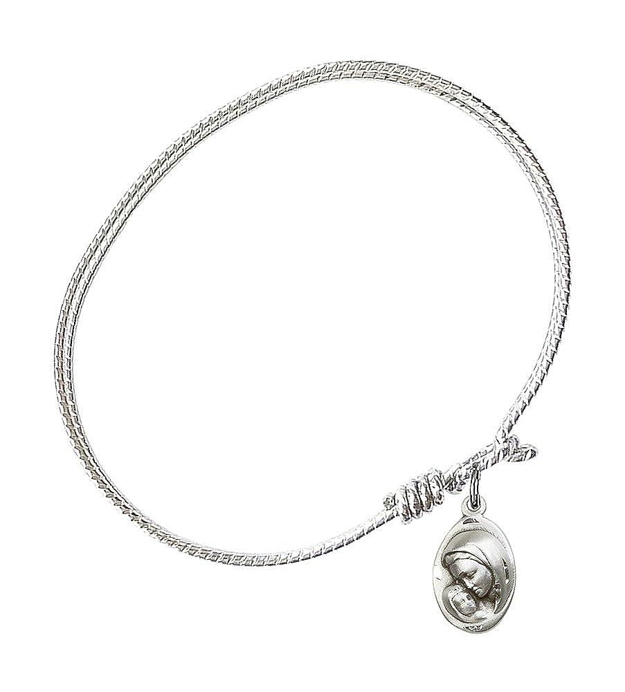F A Dumont 7 1//4 inch Oval Eye Hook Bangle Bracelet with a Madonna /& Child Charm.