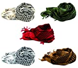 KINGREE Military Shemagh Tactical Desert 100% Cotton Keffiyeh Scarf Wrap, Shemagh Head Neck Scarf, Arab Scarf (5PC-1pc for Each Color)