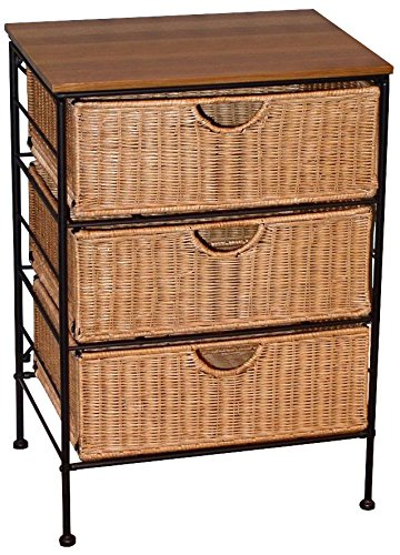 4D Concepts 3-Drawer Wicker Stand, Wicker/ Metal (And Wicker Drawers Wood)