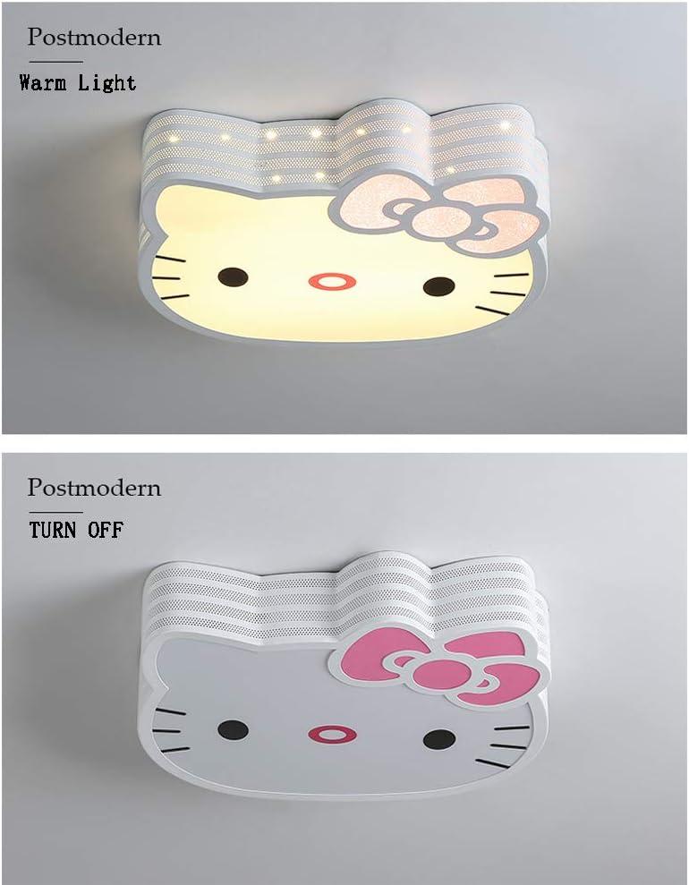L/ámpara de techo de la habitaci/ón de los ni/ños de Hello Kitty Shape LED Cartoon Pantalla de acr/ílico Blanco//Luz c/álida 30W Accesorio de iluminaci/ón para el dormitorio 3 tipos de colores clar