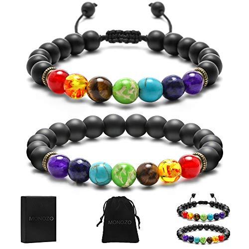 MONOZO Matte Agate Chakra Bracelet - 8mm Natural Matte Agate 7 Chakras Healing Bracelet, Men Stress Relief Yoga Beads Anxiety Bracelet for Women