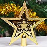 856store Popular Outdoor Home Decor Merry Christmas Ornaments Tree Topper Glitter Star Decoration - Golden 20 cm