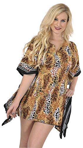 La Leela likre super suave kimono helecho la vendimia elástico 4 en 1 Playa la libertad encubrir mujeres tapa la túnica casuales vestido básico más traje baño bikini marrón kaftankaftan