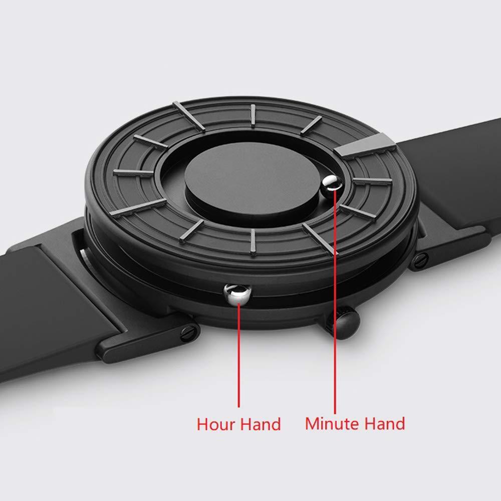 WCLOC herrsportklocka magnetisk metall, 3D-upphängningsklocka välja, multifunktions-herrarmbandsur kvarts, schweizisk rörelse-armbandsklocka par klockor Brownleather