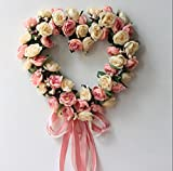 Nellav Romantic Pink Simulation Rose Flowers Wreath Front Door Wreath Wall Art Heart-shaped Garland for Home Wedding Decoration 13 Inch