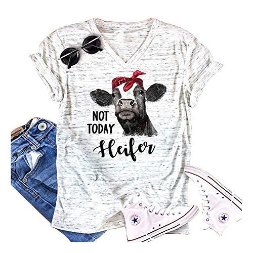 TENRUN Women Not Today Letter Print Tee Heifer Short Sleeve V-Neck Casual Shirt Tops Size S (White)