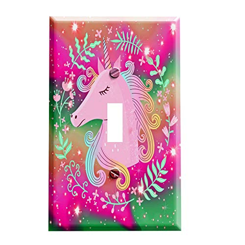 Horse Outlet Cover - Unicorn Aurora Switchplate - Switch Plate Cover - 1 toggle