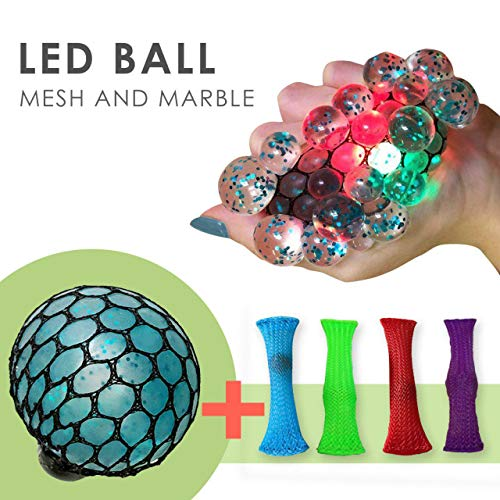 Led Anti Stress Ball with Mesh Marble Fidget - Squishy Light up Ball - Anti Stress Toys - Toys for Kids - Mesh Stress Ball - Grape Ball - DNA Ball - Prime Toys - Slime Stress Ball - ADHD Fidget Toys