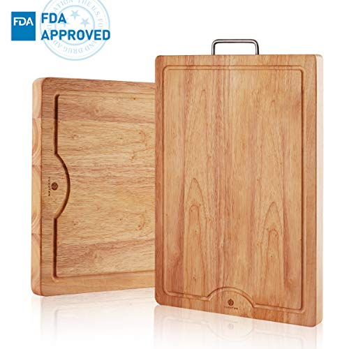 Reversible Board Cutting Wooden - Wood Cutting board,Anti-Microbial,Quality Chopping Board(19.7x13.8inches)with Juice Groove and Stainless Steel Handle for Kitchen (Reversible design, Solid Wooden Design,Multipurpose uses)YUSOTAN.