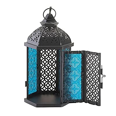2 Blue Cove Candle Lanterns Black Metal Cutout Panels